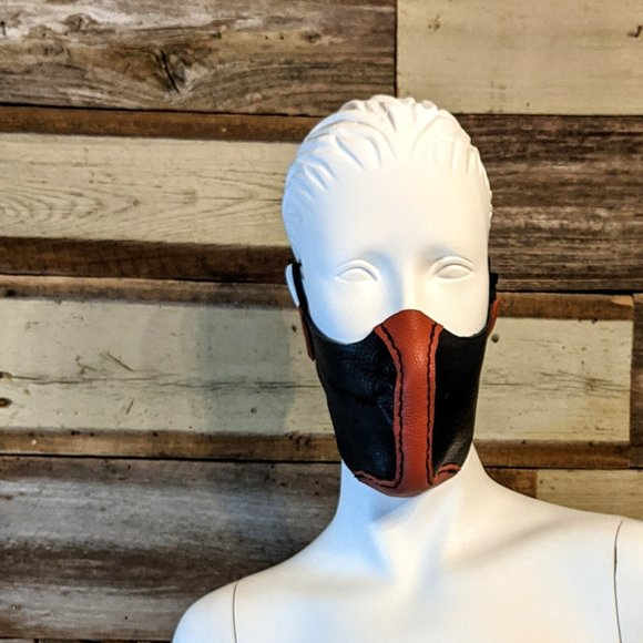 handcrafted Other - Red And Black Hand Stitched Leather Face Mask NWT